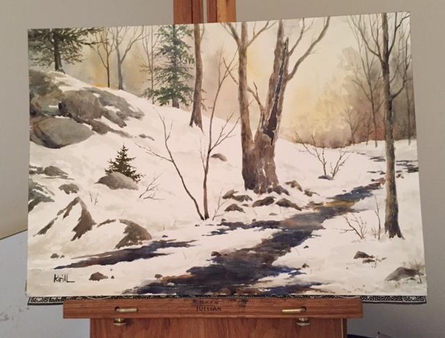 Morning Light Winter Stream Painting